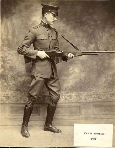 Val Browning with BAR light machine gun