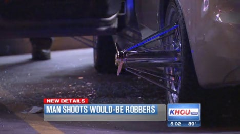 There is an unconfirmed report that the suspects weren't actually after the car, but rather the rims that were on it. (Photo credit: KHOU)