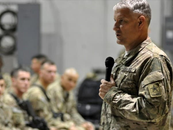 Sgt. Maj. of the Army Raymond Chandler speaks to soldiers at Forward Operating Base Fenty