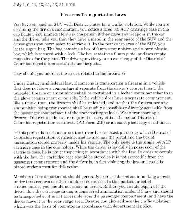 2012 D.C. Police Advisory on Firearms Transportation Laws