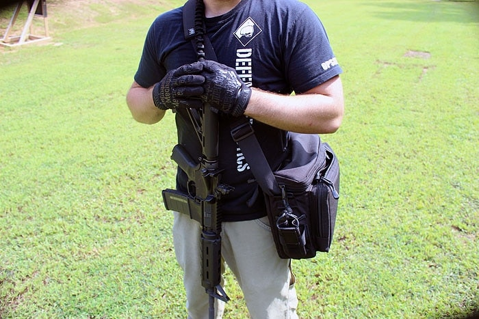 holding the MERC415 outdoors