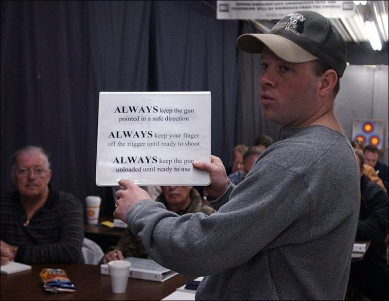 In gun class, you learn rules and answer questions.