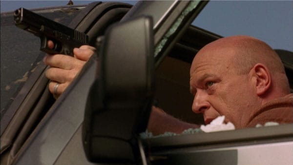 Hank levels his Glock at Tuco Salamanca