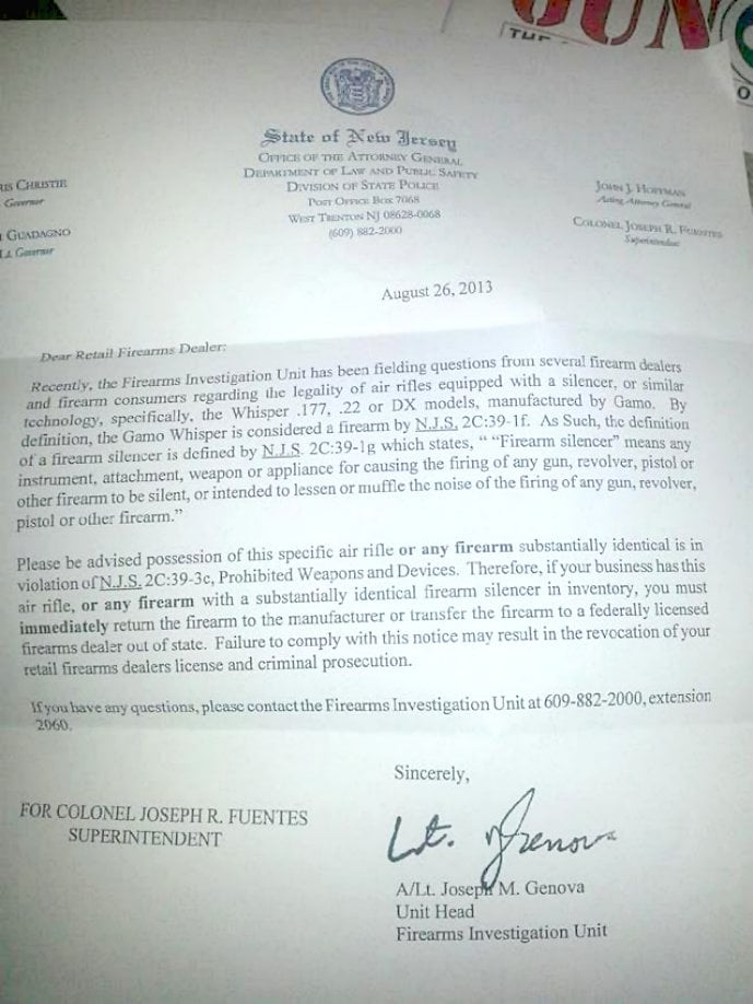new jersey air rifle ban letter