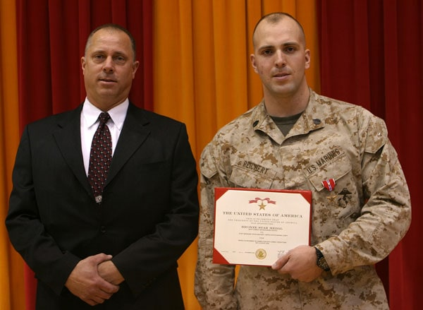 Reichert getting the Bronze star for his 2004 service.