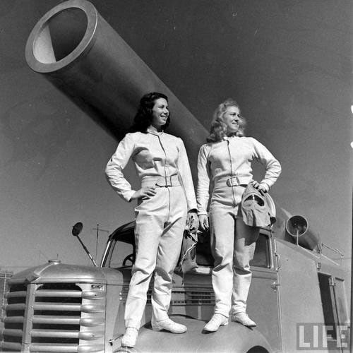Female human cannonball performers on the cover of LIFE magazine
