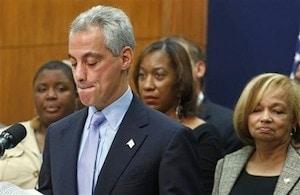 Chicago Mayor Rahm Emanuel at a press conference.  Photo Credit: AP
