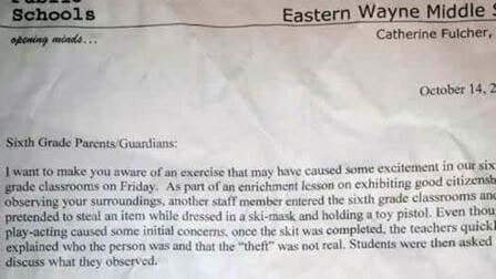 Following the incident, school officials sent home a letter of apology to parents. (Photo credit: ABC)