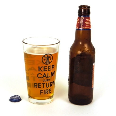 Keep Calm & Return Fire pint glasses (2)