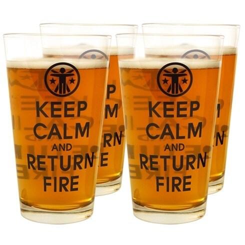 Keep Calm & Return Fire pint glasses (3)