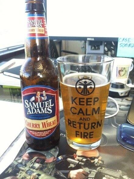 Keep Calm & Return Fire pint glasses