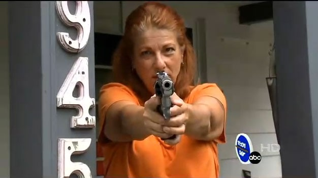 The last place any criminal wants to be is at the receiving end of a loaded .357 being held by a fiery redhead. (Photo credit: ABC)