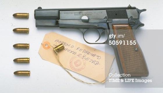 Browning 9mm semi-automatic pistol used by Mehmet Ali Agca