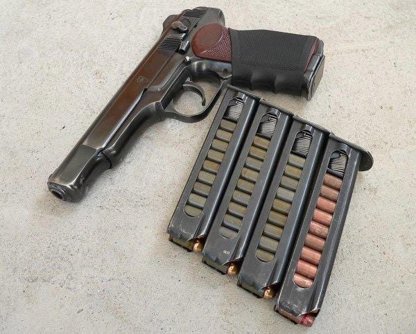 Stechkin pistol with magazines.