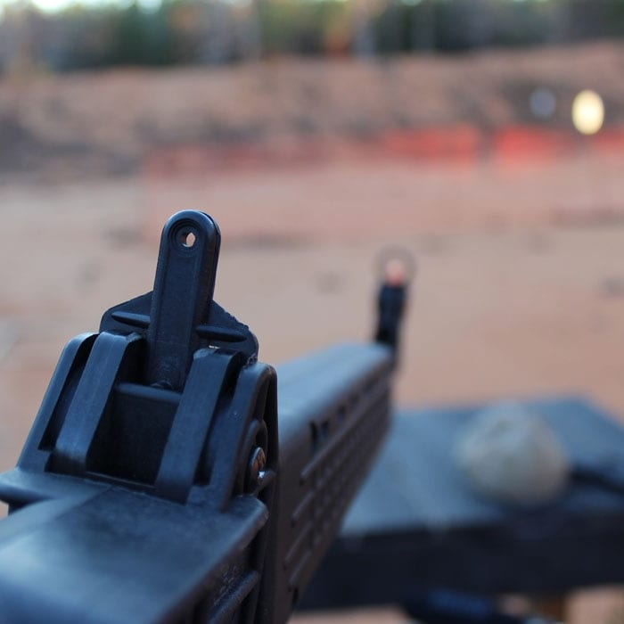 The peep sight folds with the barrel. (Photo by David Higginbotham)