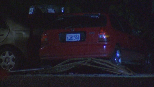 Neighbors say they could hear Mathews revving his engine before crashing through the gate. (Photo credit: King 5)