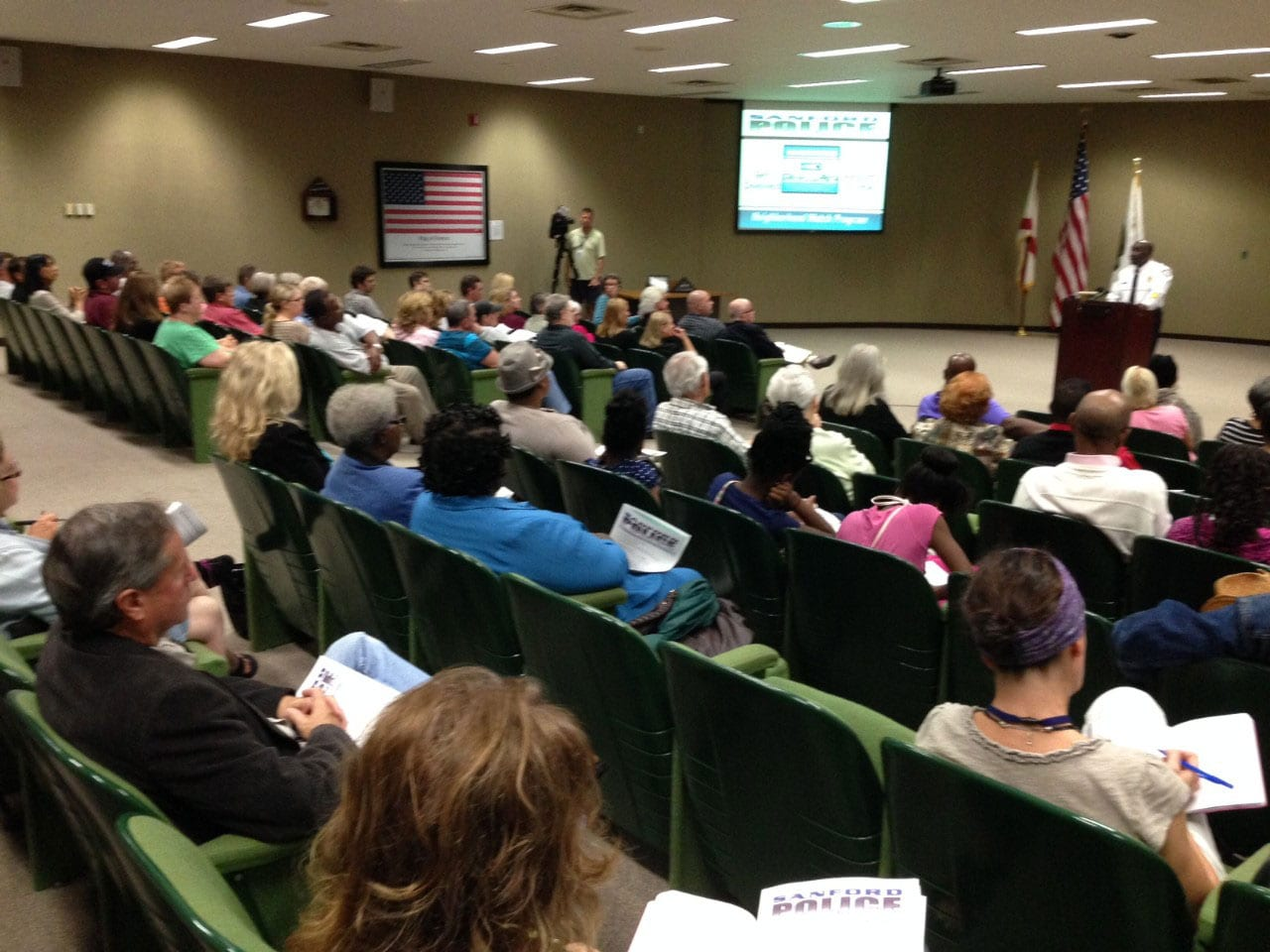 About 100 people attended Tuesday night's meet where Sanford Police Chief Cecil Smith announced the new neighborhood watch rules. (Photo credit: The Orlando Sentinel)