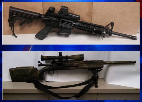 The rifles recovered after being stolen from an FBI agent's vehicle. (Photo credit: FOX)