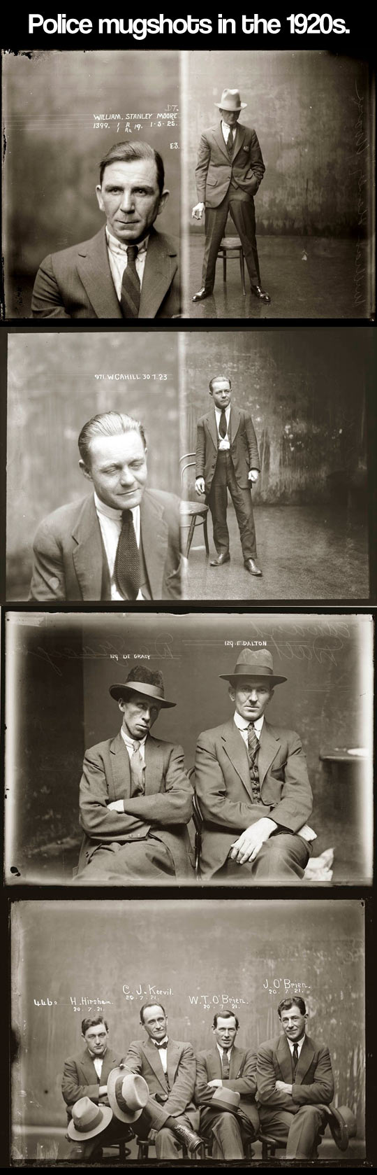 Police mugshots in the 1920s