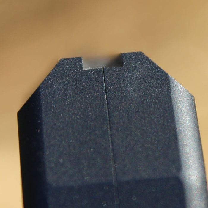 The rear sight is typical of pocket pistols.