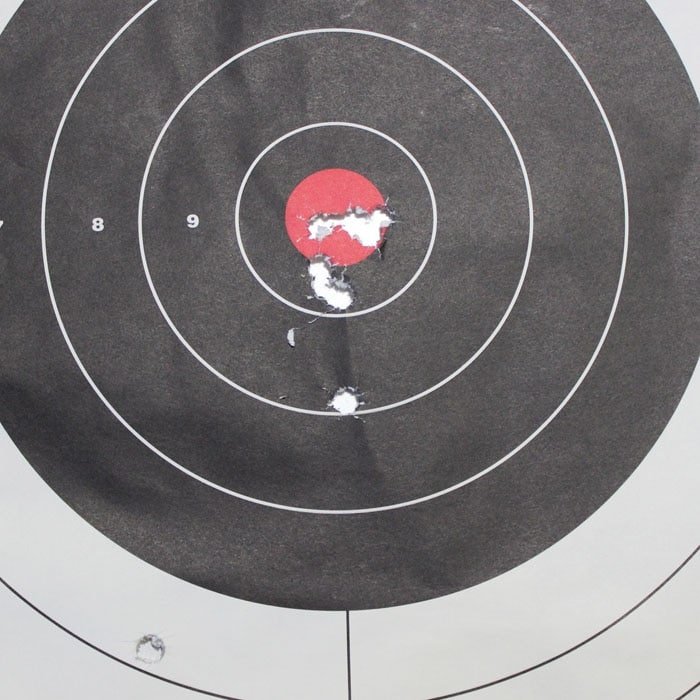 Sight-in target for the LE901 .308.  The last five shots in the same hole.  (Photo by David Higginbotham)