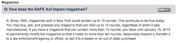 SAFE Act magazine restriction