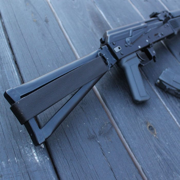 The 34 has a folding steel stock. (Photo by David Higginbotham)