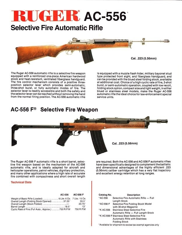 Ruger Police catalog showing AC556 rifle
