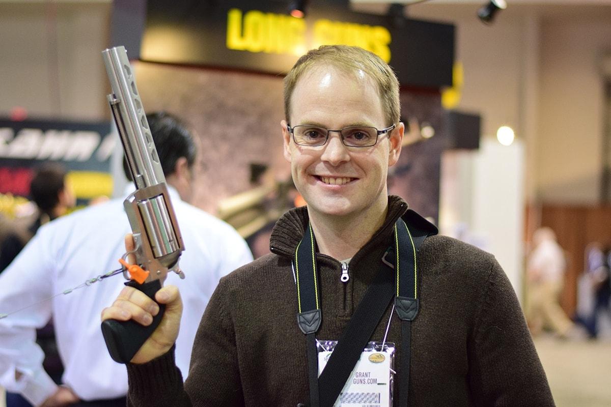 Magnum Research BFR has s shotgun rib and choke for shooting tiny clay pigeons.