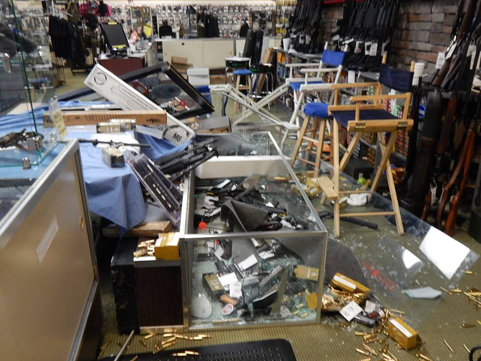 The damage to the store, combined with the lost guns, amounted to an estimated $70,000. (Photo credit: AR Bunker via facebook)