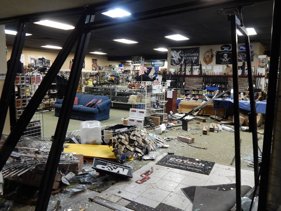 The AR Bunker in Newnan, GA was vicously attacked by a team of crash and grab burglars, who got away with 25 rifles in less than a minute. (Photo credit: AR Bunker via facebook)
