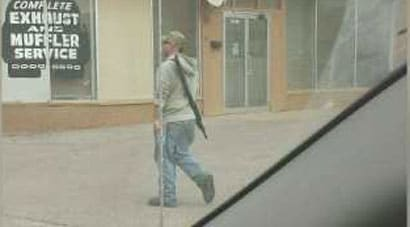 Apparently this was the image that caused alarm in the small town, prompting a flood of 911 calls and a lockdown of a middle school. (Photo credit: News West 9)