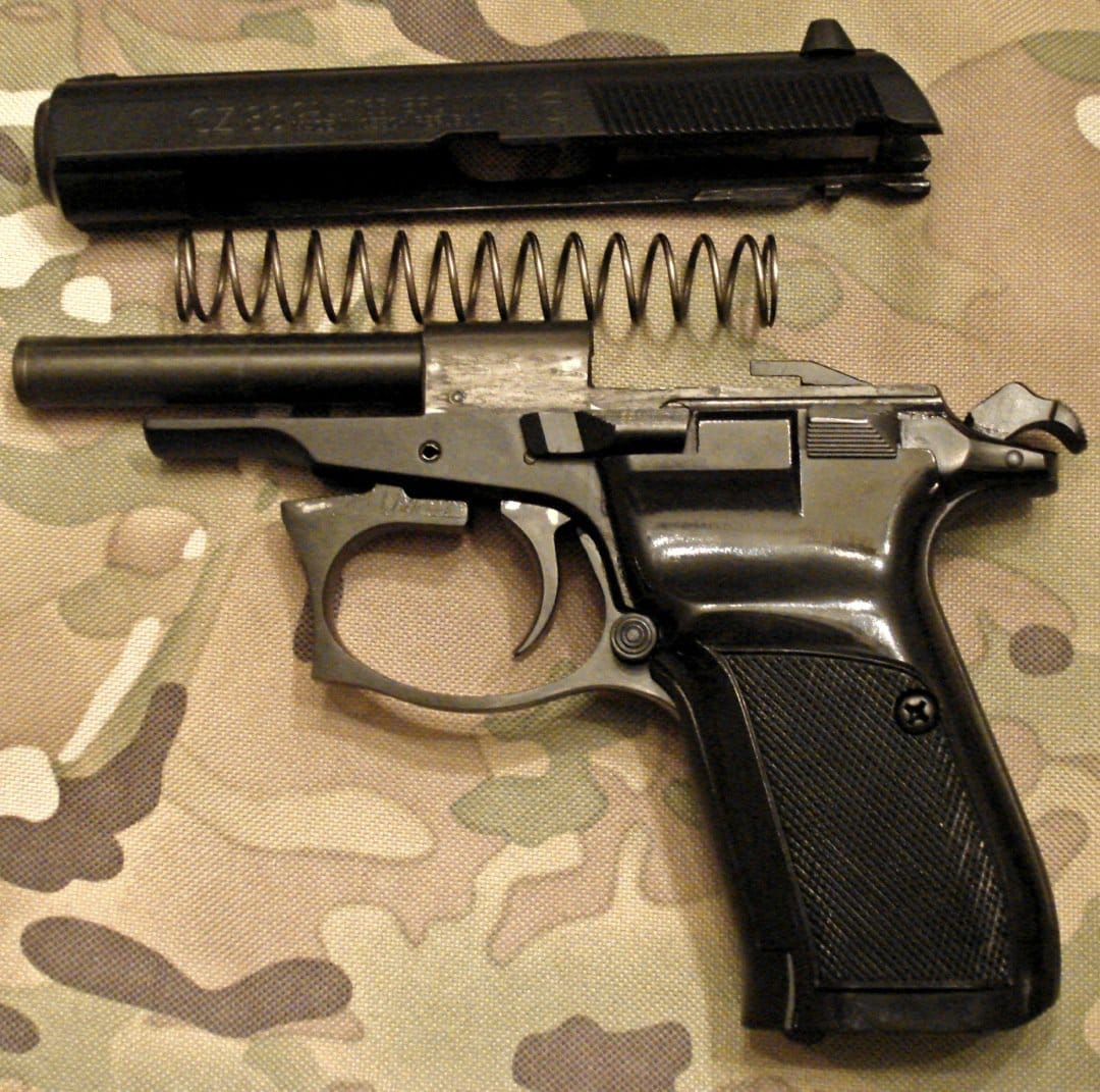 Ultra simple field-stripping for rapid access to the Czech pistol's internals. Photo Credit: Brett Kirksey