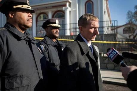 """Boston Police Commissioner William Evans gave the Boston PD a pat on the back for catching the second suspect. """"It was good work by the officers getting that second suspect and being in the right spot at the right time,"""" he said. (Photo credit: The Boston Globe)"""