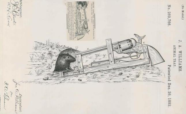 Williams's animal trap delivered its punch line at point blank range. Curiously, the cap and ball revolver in the technical drawing does not appear to have its rammer rod attached. (Photo credit: National Archives)