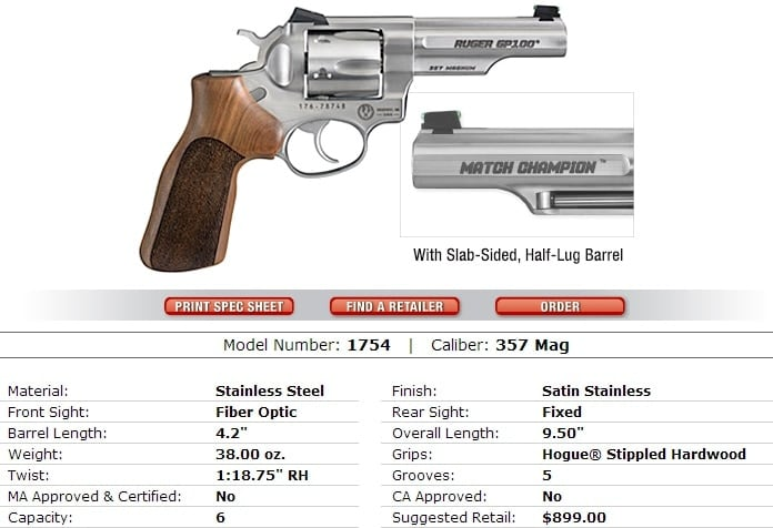 ruger gp-100 match champion