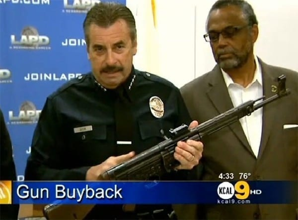 Recently a rare German rifle appeared at an LA buyback. Valued at $30,000 it was traded for a $200 gift card. Photo Credit : KCAL 9