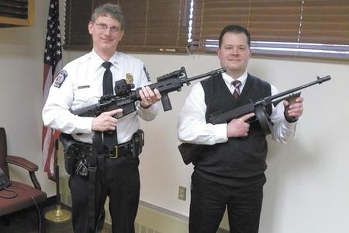 The Sharon PA police department decided to keep their early model Thompson subgun, seen here in this image compared to the departments current patrol carbine. Photo credit: The Herald of Sharon