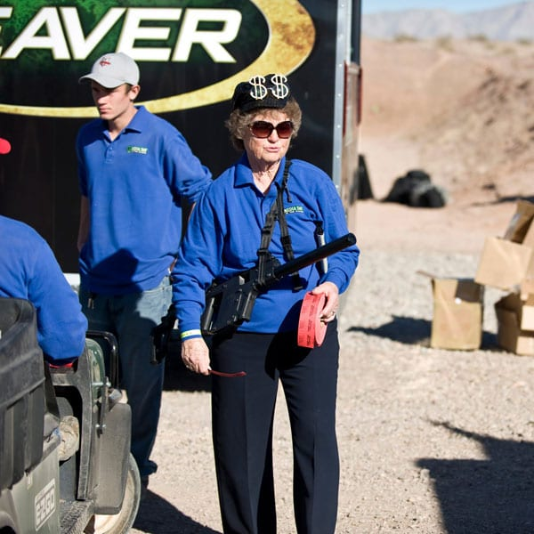 elderly woman with KRISS Vector