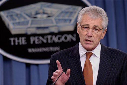"Defense Secretary Chuck Hagel said the budget cuts ""would result in a smaller army, but would help ensure the army remains well-trained and clearly superior in arms and equipment."" (Photo credit: Fox)"