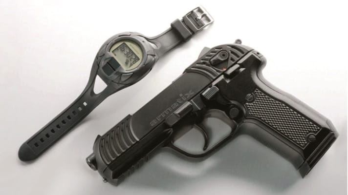 Sen. Markey in his press conference calls the technology workable, citing the $1800 German-made Armatix iP1pistol, a .22LR gun that uses an RFID-equipped watch as a remote lock. (Photo credit: Aramtix)