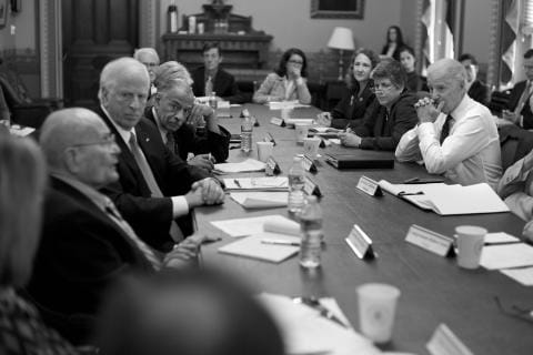Three House members of the Gun Violence Prevention Task Force, seen here meeting with Vice President Biden in 2013, submitted a resolution to Congress calling for more gun control measures last month.  (Photo credit: Esty.house.gov)