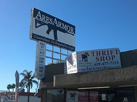 At issue is the billboard over Ares Armor in National City, CA, which the city says was built without the proper permits. (Photo credit: Ares Armor)