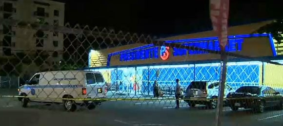 It was a terrifying night for folks inside the Presidente Supermarket when the sword-wielding suspect walked in and said he was going to kill everyone. (Photo credit: CBS)