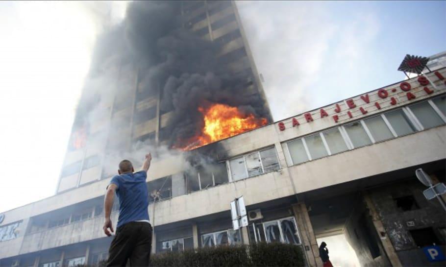 Sarajevo building on fire