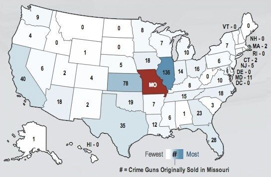 The map shows the number of firearms originally purchased in Missouri which landed in other states. (Photo credit: TraceTheGuns.org)