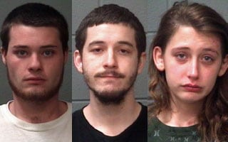 Mug shots of Bailey, Koncir, and Sanford. (Photo credit: Onslow County Sheriff's Office)