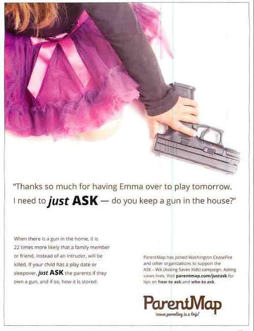 The full-page ads to be run in ParentMap are just a small portion of Washington Ceasefire's 200-ad campaign to reduce gun violence. (Photo credit: ParentMap)