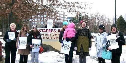Moms braved the cold winter weather to deliver their petition, but weren't able to make it past security. (Photo credit: Moms Demand Action for Gun Sense in America)
