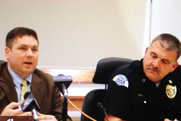 Prosecutor Shawn Sant, left, Pasco Police Capt. Jim Raymond, right, at a press conference last Wednesday to discuss the shooting of . (Photo credit: Tri-City Herald).